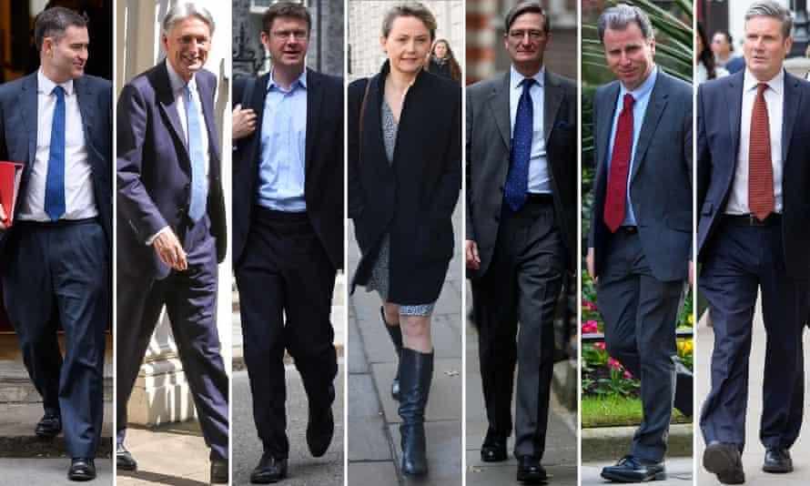 From left: David Gauke, Philip Hammond, Greg Clark, Yvette Cooper, Dominic Grieve, Oliver Letwin, Keir Starmer