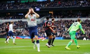 Tottenham's Fernando Llorente reacts after his shot hit the bar.
