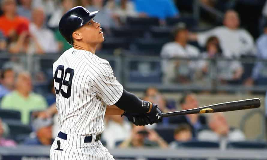 The 6ft 7in Aaron Judge has hit some huge home runs this season