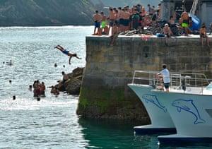 A man dives