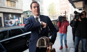 George Osborne arrives at the London Evening Standard offices to start work as its new editor.