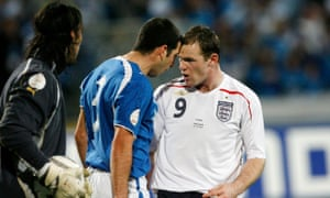 Wayne Rooney argues with Tal Ben Haim during England's Euro 2008 qualifier in Israel