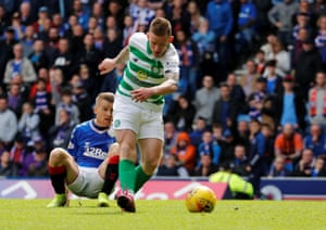 Celtic's Jonny Hayes scores their second goal.