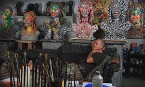 Ashley Bickerton his Bali studio in 2013.