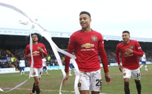 Mason Greenwood of Manchester United celebrates scoring their sixth goal from the penalty spot.