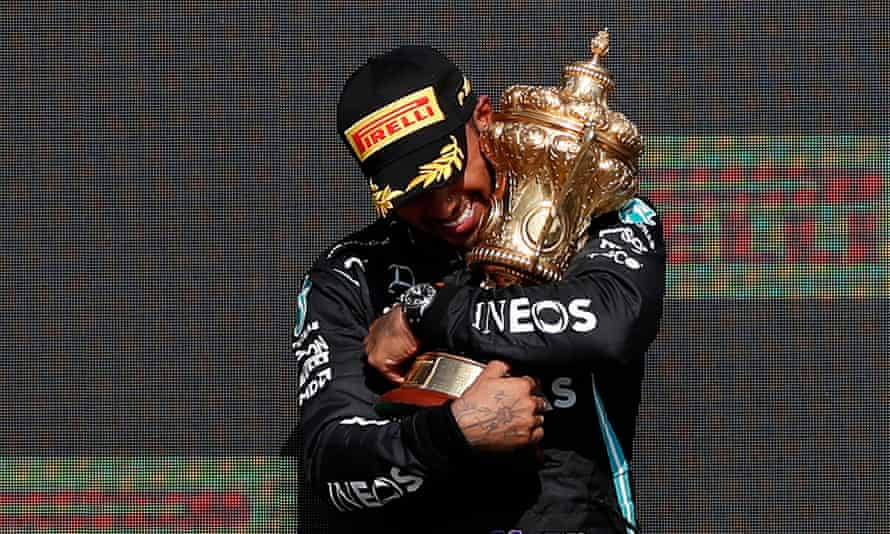 Lewis Hamilton celebrates victory in the British Grand Prix