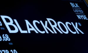 The company logo and trading information for BlackRock is displayed on a screen on the floor of the NYSE