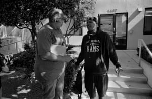 Waugh pays a field visit to his client Earl Love, 46, at a Santa Monica homeless shelter. Love has spent most of his life incarcerated, he said, and has a host of physical and mental health issues. Waugh connected Love with a telecare medical team who checks in with him weekly. Love has been at the shelter for about six months, and hopes to stay six more, then be released from probation.