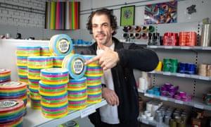 Mohamed Ghouneim in his sticky-tape store, Klebeland
