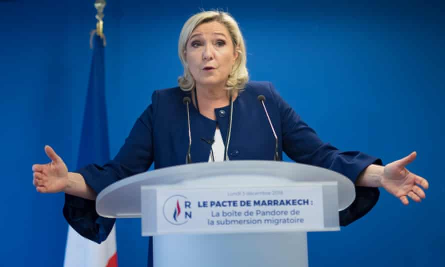 National Rally party president Marine Le Pen press conference in Nanterre