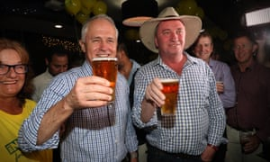 Malcolm Turnbull and Barnaby Joyce toast each other