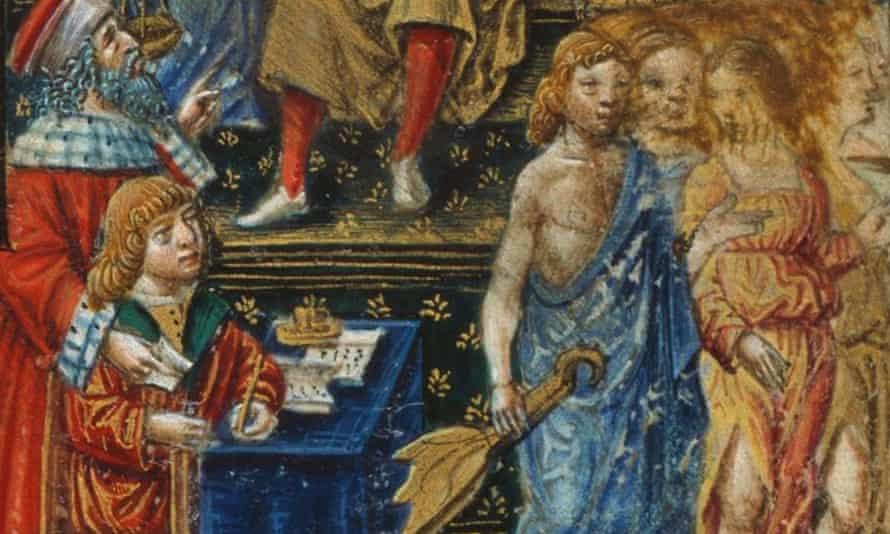 A clean-shaven, red-haired Leonardo is shown seated in Gaspare Visconti's Romanzo di Paolo e Daria .