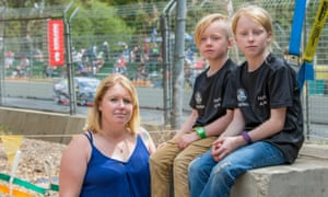 Tegan Gromball and her children Dylan, 8, and Terleah, 10, trackside at the Adelaide 500