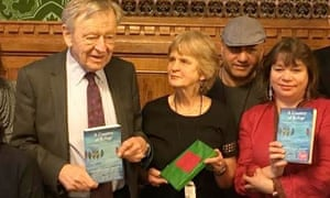 (from left) Lord Dubs, Michaela Fyson, refugee Aso and Lucy Popescu at the House of Commons reception