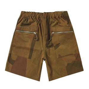 brown and khaki green camouflage shorts