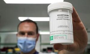A pharmacist displays a box of Dexamethasone at the Erasme Hospital amid the coronavirus disease (COVID-19) outbreak, in Brussels, Belgium