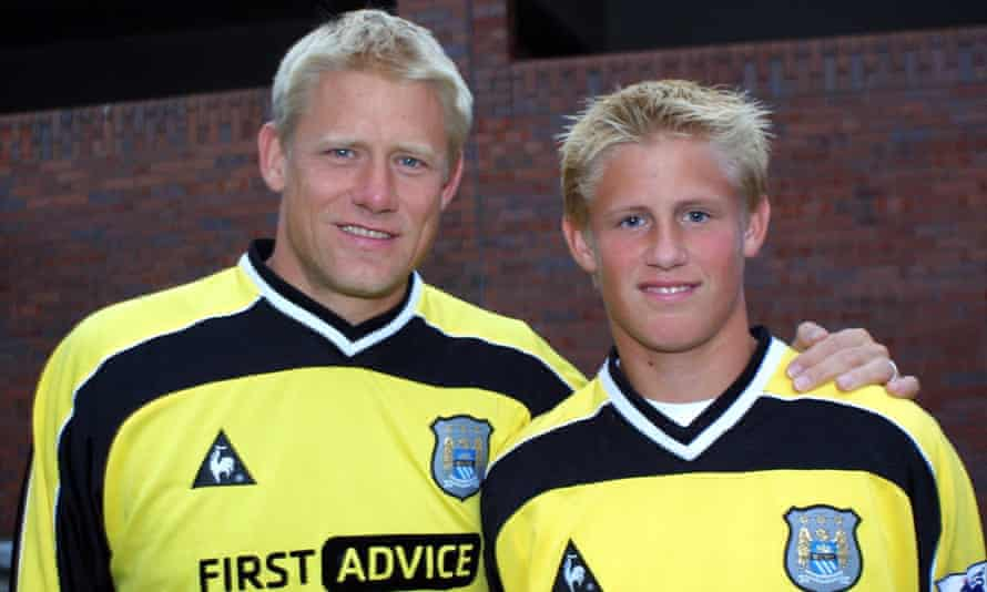 Kasper Schmeichel, right, with his father Peter when both father and son were on the books of Manchester City in 2002.