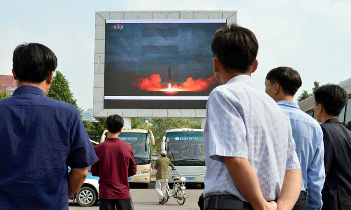 North Korea: ballistic missile launched over Japan – as it