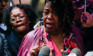 Eric Garner's mother, Gwen Carr, speaks to the press outside police headquarters as a disciplinary hearing takes place for Daniel Pantaleo in New York City, on 13 May.