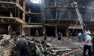 The site of the car bombing in the Karrada shopping area of Baghdad.