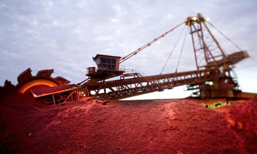 BHP excavator at a mine