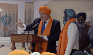 Boris Johnson during his visit to a Sikh temple in St George in Bristol.
