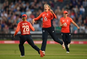 Sophie Ecclestone of England celebrates after taking the wicket of Meg Lanning of Australia.