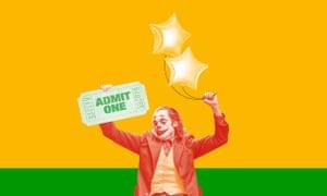 Photomontage of the Joker holding cinema ticket