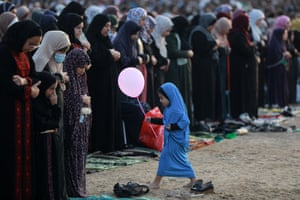 Gaza City, Gaza Strip: Palestinians attend special prayers on the first day of Eid al-Adha