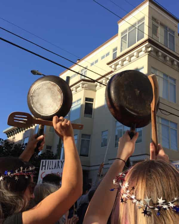 Protesters clang pots and pangs at the fundraisers.