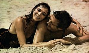 Anna Karina and Marcello Mastroianni in Luchino Visconti's The Stranger