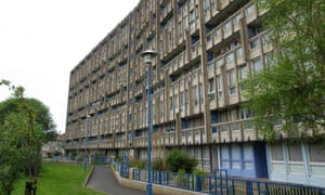Robin Hood Gardens housing estate iconic new brutalist architecture in London, England, UK