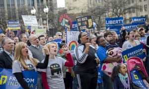 Demonstrators gather in Indianapolis, Indiana in March, calling on the state house to roll back the Religious Freedom Restoration Act.