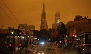San Francisco's Transamerica Pyramid and Salesforce Tower seen amid daytime smoke from wildfires on Wednesday.