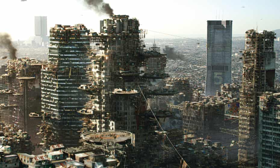 Los Angeles 2154, where downtown skyscrapers have become vertical shanty towns, from the movie Elysium (2013).