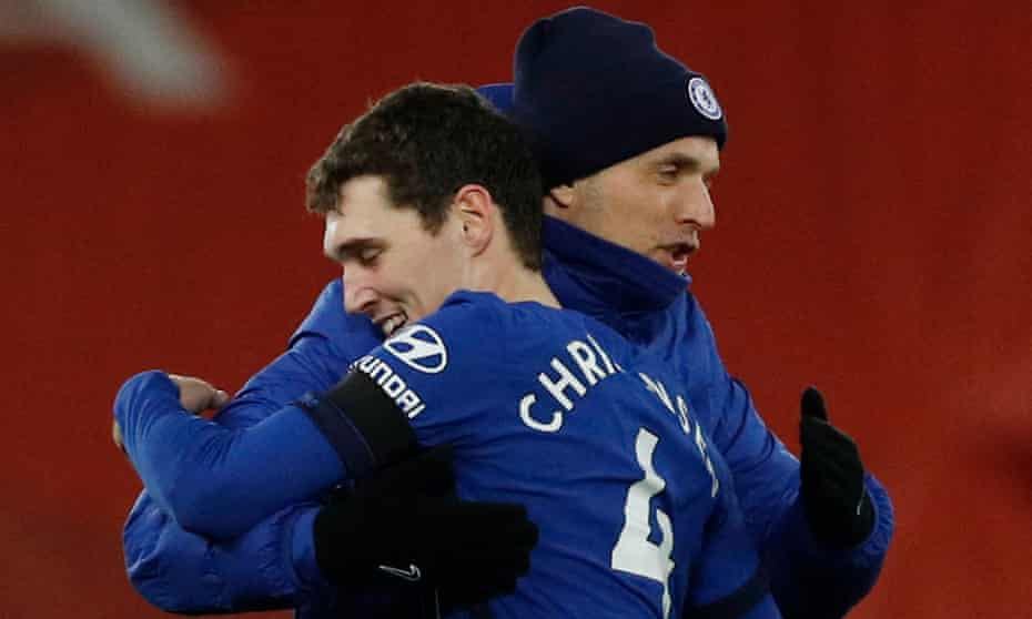 Thomas Tuchel embraces Andreas Christensen after Chelsea's win at Liverpool. The Dane looks well placed to earn a new contract at Stamford Bridge.