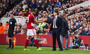 Boro's Rudy Gestede leaves the field after picking up an injury.