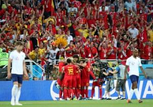 Adnan Januzaj of Belgium celebrates scoring the opening goal