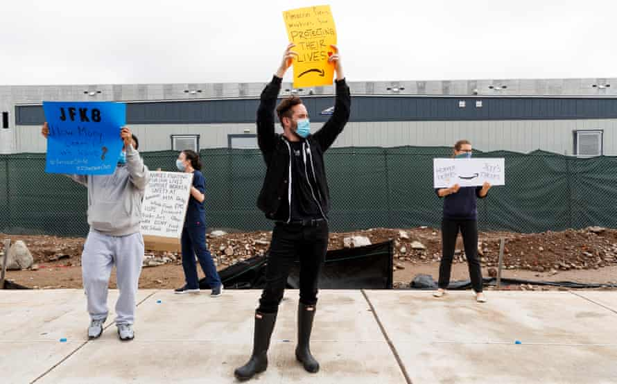Nurses, other union workers and activists gather with Amazon employees to protest in front of an Amazon distribution warehouse in Staten Island, New York, on 1 May.