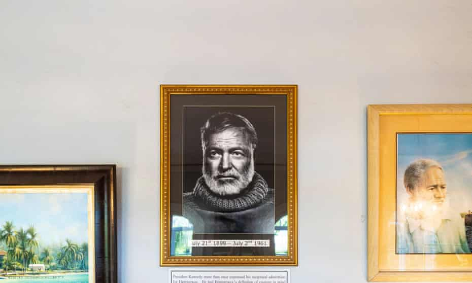 A portrait of Ernest Hemingway seen inside the Hemingway Home and Museum located in Key West, Florida on July 24, 2021.