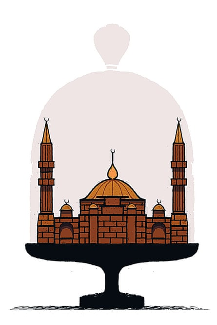 Illustration of a chocolate mosque on a cake stand by David Foldvari