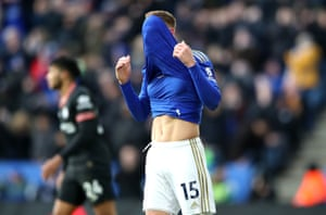 Leicester City's Harvey Barnes reacts after a missed chance.