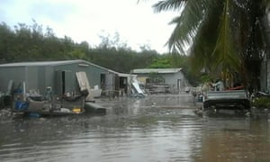 Flooding on Yam Island in the Torres Strait from a king tide driven by the super blue blood moon