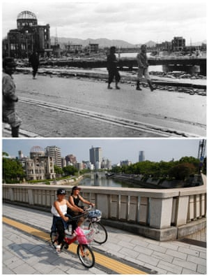 The gutted Hiroshima Prefectural Industrial Promotion Hall, which is currently called the Atomic Bomb Dome or A-Bomb Dome, as people walk on Aioi Bridge