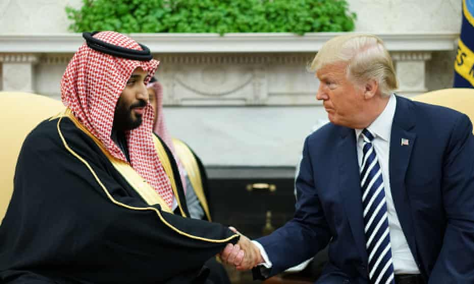 Trump and the Saudi crown prince in March last year. Trump has ignored findings that Prince Mohammed almost certainly ordered Khashoggi's killing.
