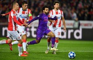 Mohamed Salah tries to find a way through the Red Star defence.