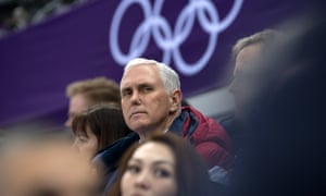 Mike Pence in Gangneung, South Korea. During the games Pence sat nearby Kim Jong-un's younger sister but they did not converse.