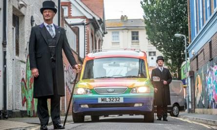 The Co-Operative Funeralcare's new rainbow hearse in Brighton