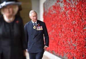 Prince Charles and Camilla view the Roll of Honour during Remembrance Day commemorations at the Australian War Memorial.