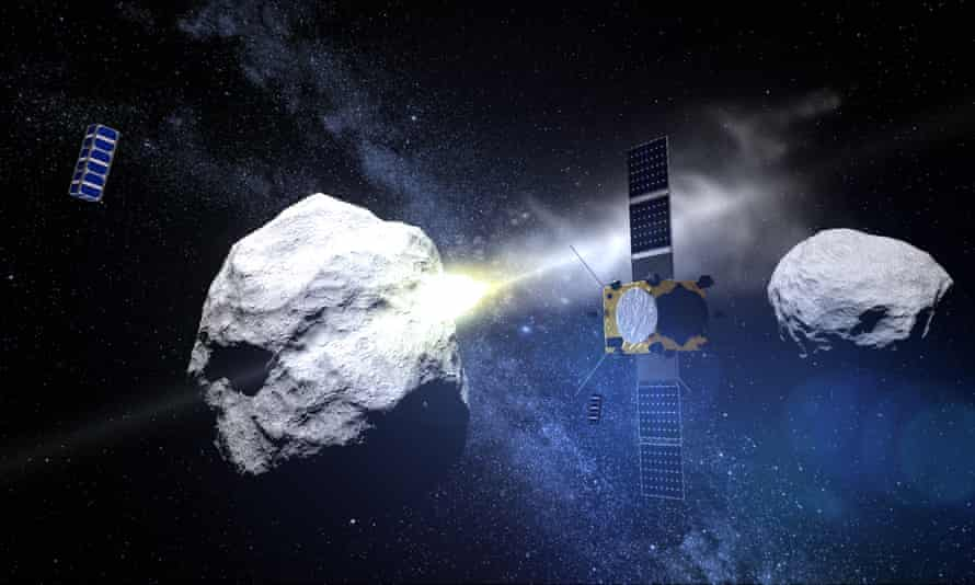A graphic rendering of the Dart mission's collision with the Didymos binary asteroid system.